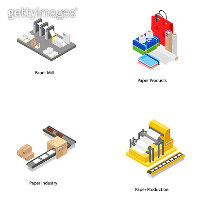 Paper Mill Isometric Icons