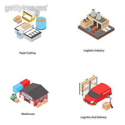 Logistics Isometric Icons