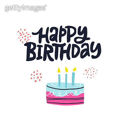B-day cake with phrase vector illustration