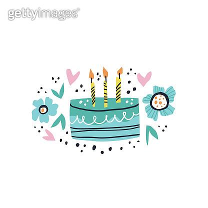 Birthday cake flat hand drawn illustration