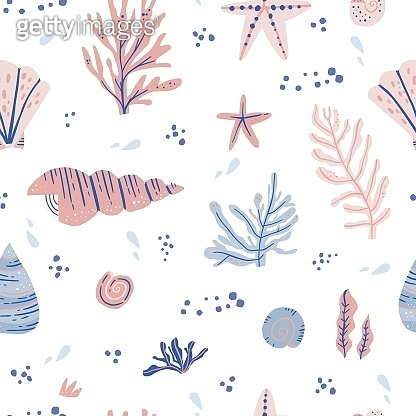 Seaweeds and shells hand drawn seamless pattern