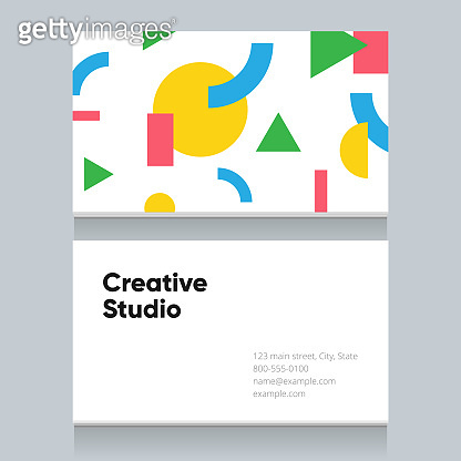 Business card template with geometric shape pattern background, version 1.