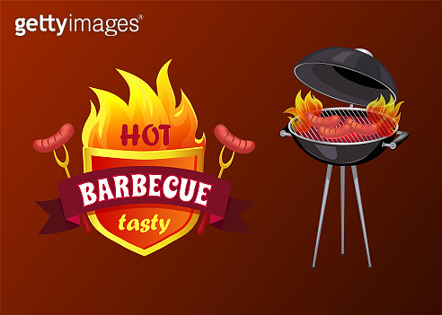 Hot Barbecue Party Sausages Vector Illustration
