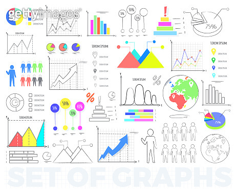 Bright Charts and Round Diagrams Illustrations Set