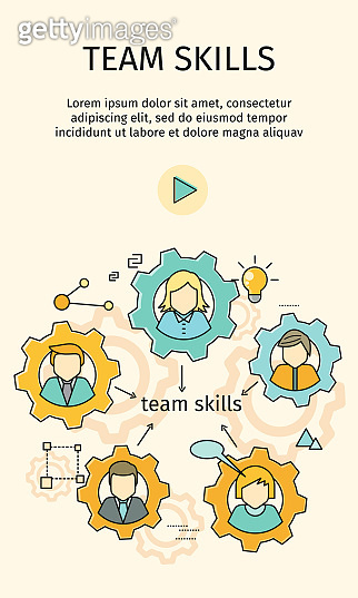 Team Skills Banner. Avatar in Gear.