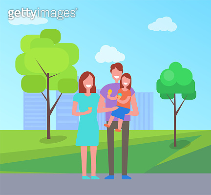 Happy Family Spend Time Togeter, Couple and Child