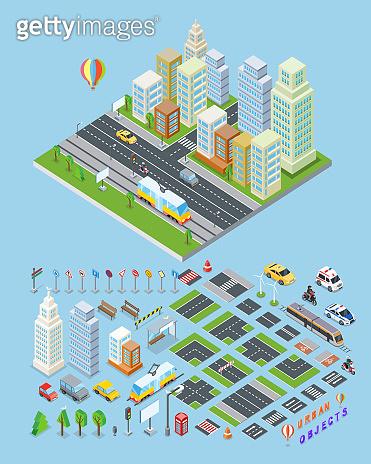 City landscape & urban objects Illustrations.