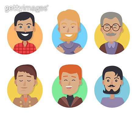 Icons Set of Men with Different Age, Hair Color