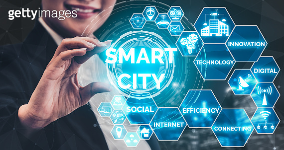 Smart City and internet technology concept.