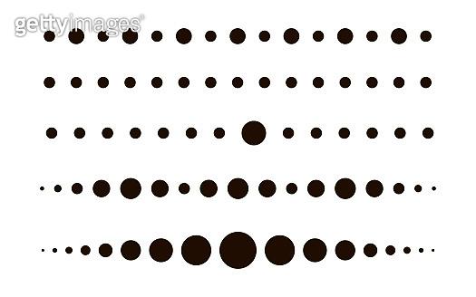Dotted circle line set. Dot black colored. Flat design. Vector