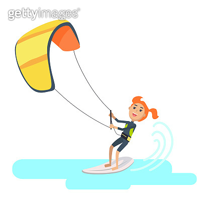 Woman Takes Part at Kite Surfing Spain Festival