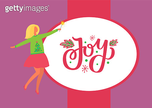 Joy Poster, Woman in Skirt and Sweater Green Tree