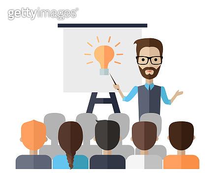 Lecturer Making a Presentation Near Whiteboard