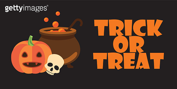 Trick or Treat Text Halloween Pumpkin Pot Skull