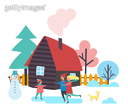 Trees and Houses, Winter Season People Vector