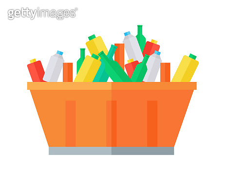 Container with Garbage Vector Illustration.