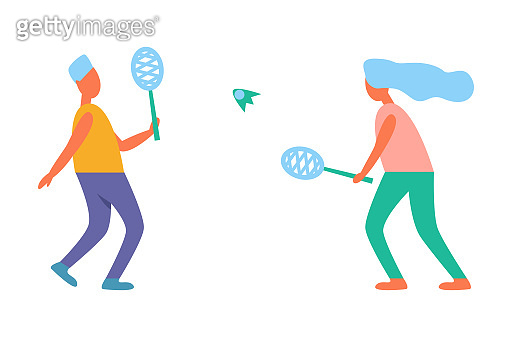 Man and Woman Playing Tennis Vector Illustration
