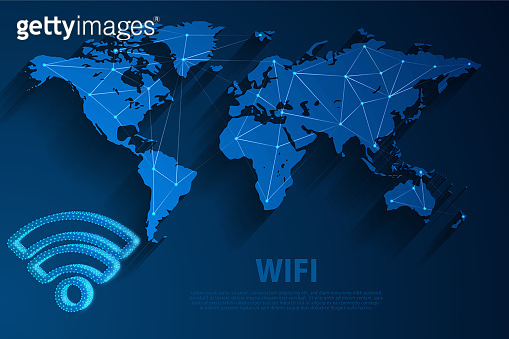 Wifi network technology blue background with world map, vector, illustration, eps 10 file