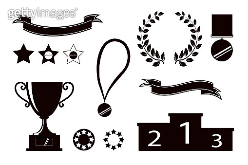 Award icons. Web site. Set of silhouettes of trophy cups, ribbons, stars, laurel wreath, winners podium