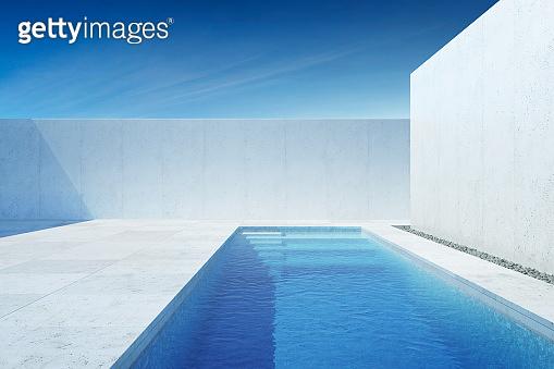 luxury modern backyard with a swimming pool