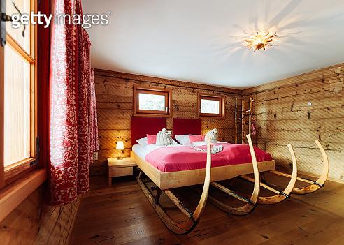 Interior of bedroom Modern design of pink bed