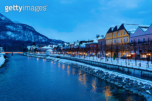 Spa and ski resort Bad Ischl town in Austria at evening