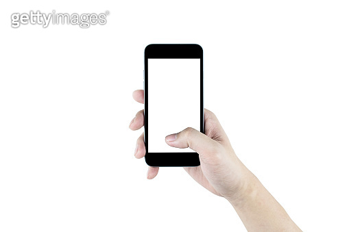 Right hand is holding black smartphone, isolated on white background. Clipping path embedded.