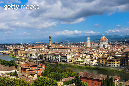 Amazing Florense cityscape with clouds in background, Italy
