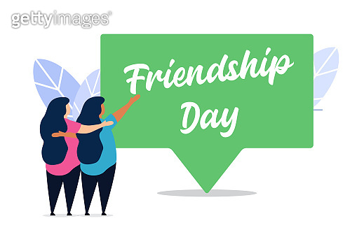 happy friendship day flat creative illustration vector of graphic , small people in friendship day flat illustration vector , vector friendship day flat illustration for banner website landing page