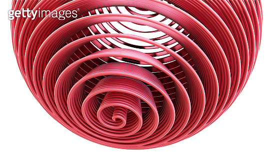 Abstract pink spiral sphere