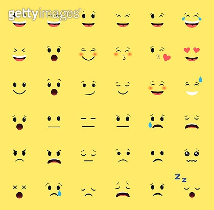 Set of emoticons on a yellow background. Different emotions.
