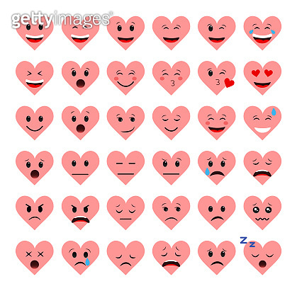 A set of emoticons hearts on a white background. Different emotions.