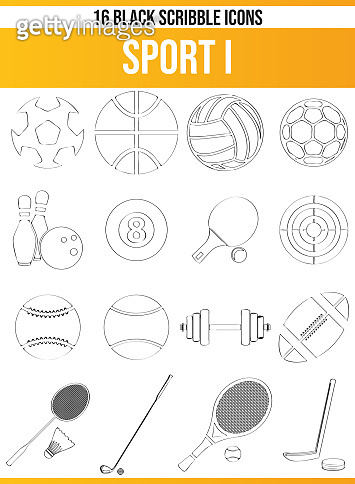 Scribble Black Icon Set Sport I