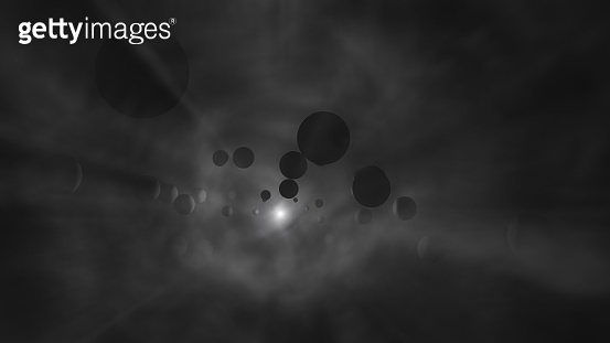 Planets and the sun in cosmic fog. 3D illustration