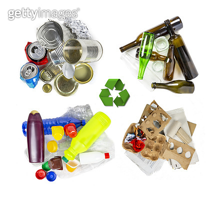 Four garbage materials for recycling.