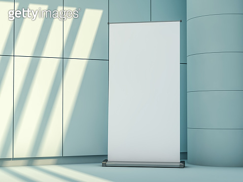 Blank rollup banner display. Template mockup. 3D