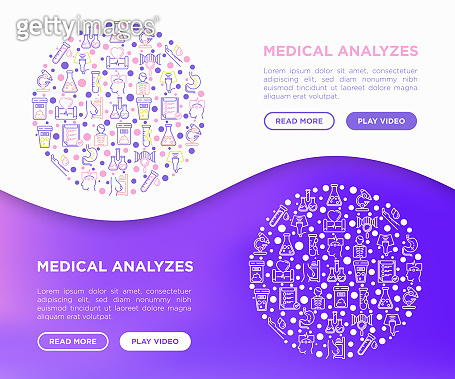 Medical analyzes concept in circle with thin line icons: blood test, urine test, stool, ECG, mammography, sperm, DNA, ultrasound, EEG, X-ray, gastroscopy. Vector illustration for laboratory web page.