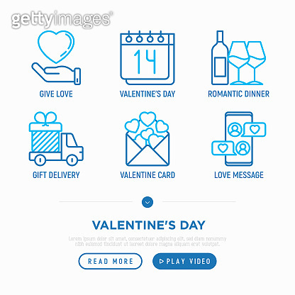 Valentine's day thin line icons set: romantic evening, envelope, love message, gift delivery. Modern vector illustration.