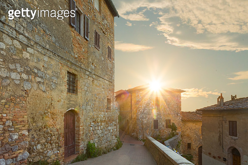 Sunrise in the old town of San Gimignano, Tuscany, Italy