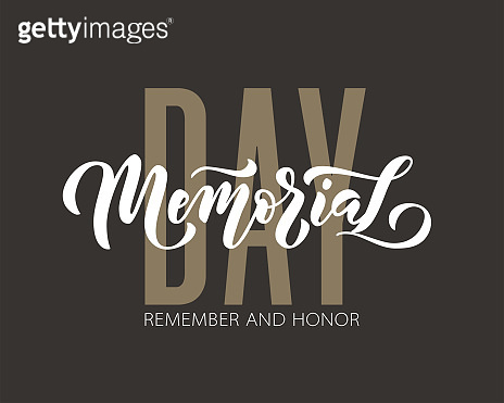 Memorial Day. Remember and honor. Vector illustration Hand drawn text lettering with stars for Memorial Day in USA.