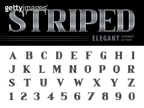 Elegant Alphabet Letters & numbers,Triple Line Stripes fonts