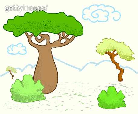 African savanna landscape with trees. Cute giraffe vector illustration.
