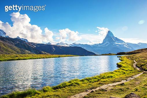 Fantastic landscape with the Matterhorn in the Swiss Alps and Lake Stellisee, near Zermatt, Switzerland, Europe
