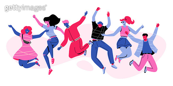 Six Happy Characters Jumping in Air