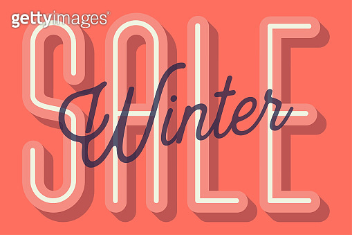 Winter Sale Card (Color of the Year 2019: Living Coral) Vector Illustration