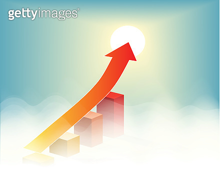 Arrow pointing to success vector on blue sky background
