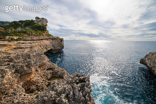 Seaside view from Cala Moro S'Almonia, beautiful wild natural beach on Mallorca island