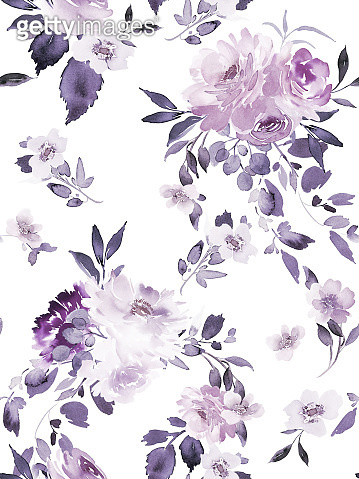 Seamless summer pattern with watercolor flowers handmade