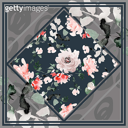 Silk scarf design in soft pastel colors. Watercolor abstract peonies. Composition for hijab.