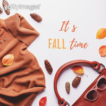 Woman sweater or dress with leather bag, jewelry, fashion accessories and autumn leaves. It's fall time quote
